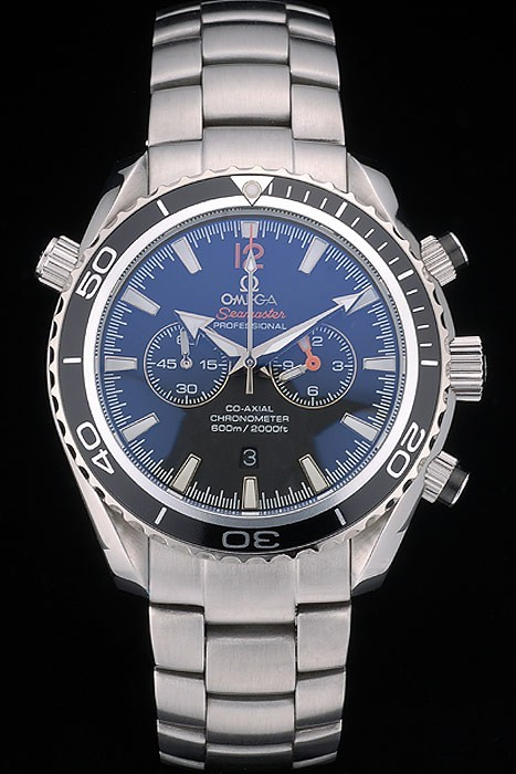 Replique Montre Omega Seamaster Planet Ocean Black Tachymeter Black Dial Stainless Steel Strap 80240